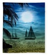 Moonlight Sail - Key West Fleece Blanket
