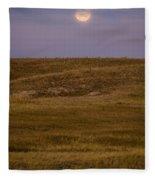Moonrise Over Badlands South Dakota Fleece Blanket