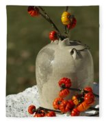 Moonshine Jug And Pumpkin On A Stick Fleece Blanket