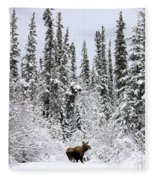 Moose In Deep Snow, Near Teslin, Yukon Fleece Blanket