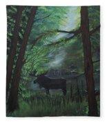 Moose In Pines Fleece Blanket