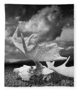 Moose Skull On Parched Earth Fleece Blanket