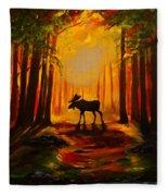 Moose Sunset Fleece Blanket
