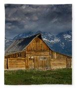 Mormon Barn Under Approaching Storm Fleece Blanket