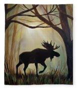 Morning Meandering Moose Fleece Blanket