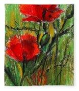 Morning Poppies Fleece Blanket