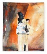 Moroccan Woman Carrying Baby Fleece Blanket