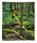 Moss And Fallen Trees In The Rainforest Of The Pacific Northwest Fleece Blanket