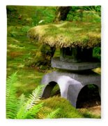 Mossy Japanese Garden Lantern Fleece Blanket