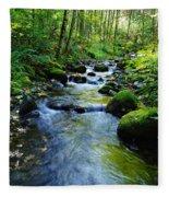 Mossy Rocks And Water   Fleece Blanket
