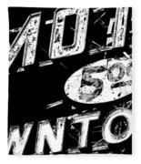 Motel Sign Black And White Fleece Blanket