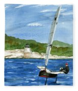 Moth Sailing At Castle Hill Light Fleece Blanket