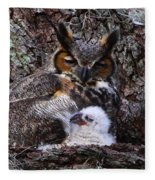 Mother And Baby Owl Fleece Blanket
