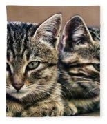 Mother And Child Wild Cats Fleece Blanket