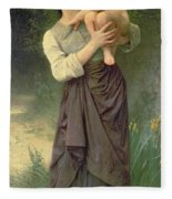 Mother And Child Fleece Blanket by William Adolphe Bouguereau
