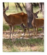 Mother And Yearling Deer Fleece Blanket
