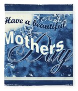 Mothers Day In Blue Fleece Blanket