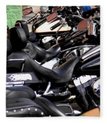 Motorcycles - Harleys And Hondas Fleece Blanket