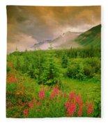 Mount Amery And Fireweed Fleece Blanket
