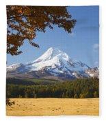 Mount Hood And Autumn Colours In Hood Fleece Blanket