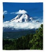 Mount Hood Framed By Trees, Oregon, Usa Fleece Blanket