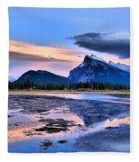Mount Rundle In The Evening Fleece Blanket