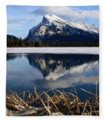 Mount Rundle In Winter Fleece Blanket
