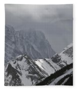 Mountain Peaks In Clouds, Spray Lakes Fleece Blanket