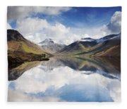 Mountains And Lake, Lake District Fleece Blanket