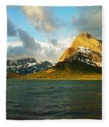 Mountains At Many Glacier Fleece Blanket