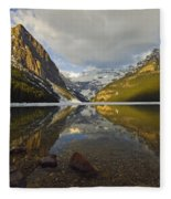 Mountains Reflected In Lake Louise Fleece Blanket