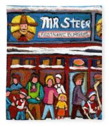 Mr Steer Restaurant Montreal Fleece Blanket