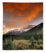 Mt. Amery And Dramatic Clouds, Banff Fleece Blanket