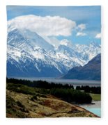 Mt Cook Across Lake Pukaki Fleece Blanket