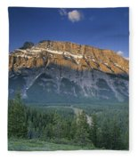 Mt Rundle And The Bow River Fleece Blanket
