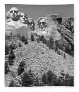 Mt. Rushmore Full View In Black And White Fleece Blanket