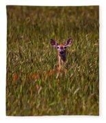 Mule Deer In Wheat Field, Saskatchewan Fleece Blanket