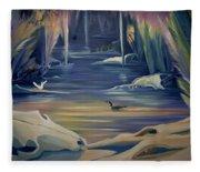 Mural Death In Autumn Fleece Blanket