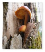 Mushrooms On A Tree Fleece Blanket