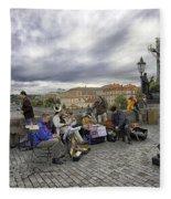 Musicians On The Charles Bridge - Prague Fleece Blanket