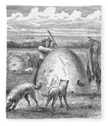 Muskrat Hunting, 1873 Fleece Blanket