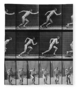 Muybridge Locomotion, Man Running, 1887 Fleece Blanket