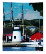 Mystic Seaport Ct Fleece Blanket