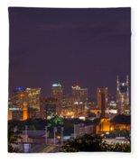 Nashville Cityscape 9 Fleece Blanket