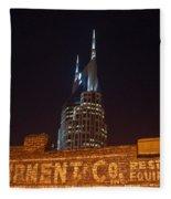 Nashville Downtown Night Scene Fleece Blanket