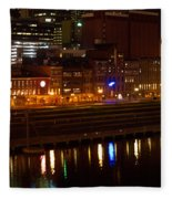 Nashville River Front By Night 1 Fleece Blanket