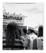 Nathan's Crowd In Coney Island 2 Fleece Blanket