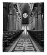 National Cathedral Interior Bw Fleece Blanket