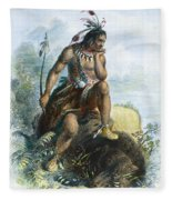 Native American Hunter Fleece Blanket