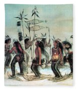 Native American Indian Snow-shoe Dance Fleece Blanket